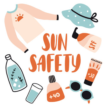 Sun safety. Cute cartoon set with cosmetic and accessories