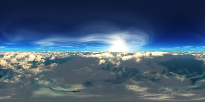 Panorama of clouds, HDRI, environment map , Round panorama, spherical panorama, equidistant projection, panorama 360, flying above the clouds,sky above the clouds