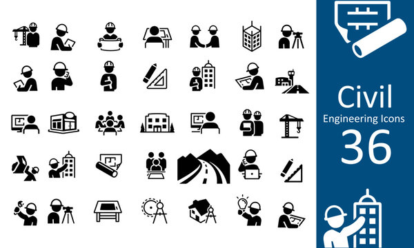 Civil Engineering Icons vector design black and white