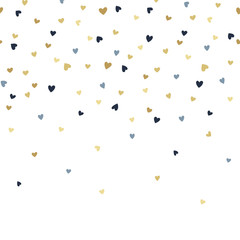 Vector seamless boarder pattern with tiny golden and blue hearts. Creative scandinavian childish background for Valentine's Day