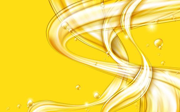 Yellow golden flowing liquid vector abstract background