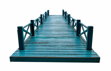 Old green wooden bridge isolated on white background with clipping path. Fotobehang