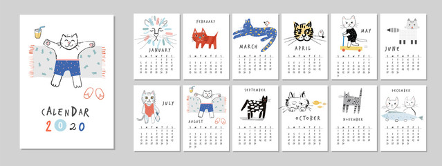 Calendar 2020 with fun and cute cats. Printable creative template