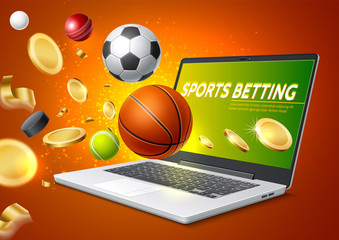 Vector online sports betting mobile app laptop