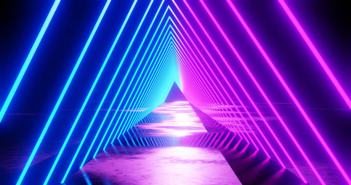 3d render, abstract geometric background, fluorescent ultraviolet light, glowing neon lines rotating tunnel, blue red pink purple spectrum, spinning around, modern colorful illumination,