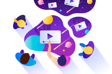 People watch video files. Cloud technologies. Public space, media and information. Teamwork. Social networks and entertainment. Vector illustration