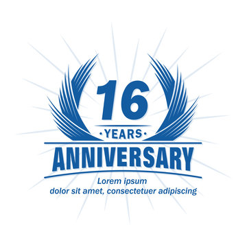 16 years logo design template. 16th anniversary vector and illustration.