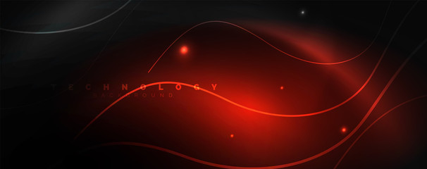 Dark abstract background with bright color neon lights and lines. Glowing background Fototapete