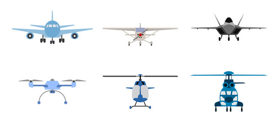Airplane, Helicopter and drone symbols presented as flat icons. Icon set of flying transportation and flying objects. Flying machines.