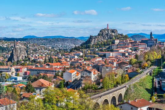 Cityscape of Puy-en-Velay town. Haute-Loir, Auvergne-Rhone-Alpes region in France.