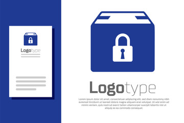 Blue Locked package icon isolated on white background. Lock and cardboard box. Logo design template element. Vector Illustration