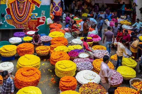 Indian Bangalore flower market with many colours