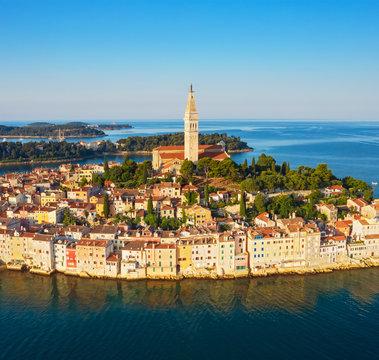 Beautiful Rovinj at sunrise. Morning aerial photo. The old town of Rovinj, Istria, Croatia.