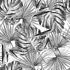 Tuinposter Botanisch seamless pattern of tropical leaves and flowers, sketch vector graphics monochrome illustration on white background