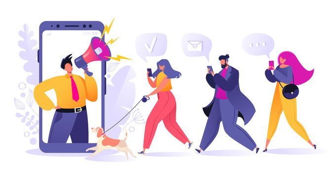 Refer a friend, influencer, marketing, social media, promotion and SMM concept. Cartoon flat style vector illustration for internet advertisement. Man with megaphone and young people with mobile phone