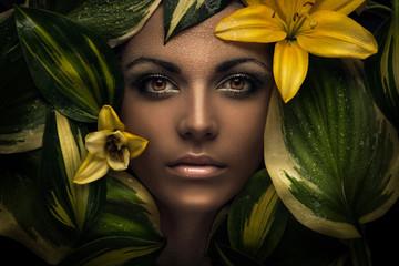 woman face and flowers, flower portrait, beauty portrait