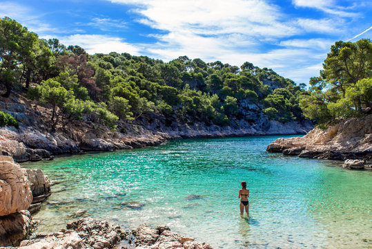 View of Parc national des Calanques, Marseille, Cassis, France, Mediterranean sea