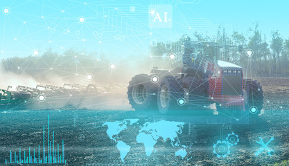 geolocation of agricultural machinery and automatic cultivation and cultivation of fields without human intervention. Future technologies applied in agriculture today Fototapete