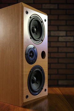 Wooden stereo sound speakers