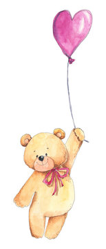 Love Teddy bear with air balloon. Hand drawn watercolor illustration in sketching style for St. Valentine's day, birthday cards, wrapping paper, stickers, backgrounds and children design.