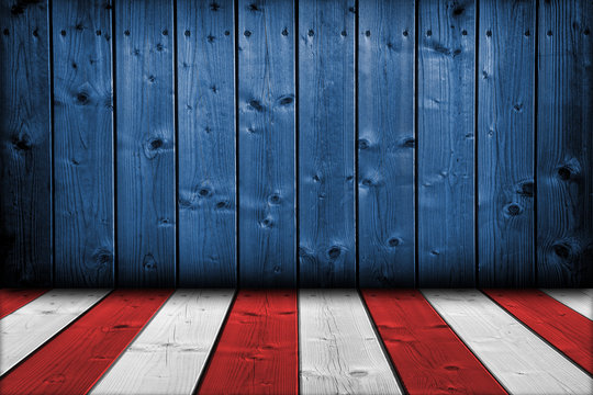 USA background. USA flag elements on wood in perspective interior room style.
