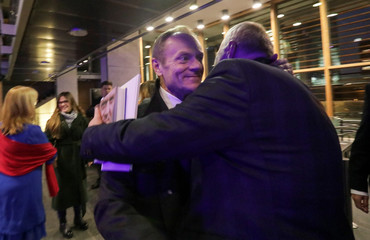 """Donald Tusk, a Polish politician and former European Council President, attends a promotion of his personal diary, """"Szczerze"""" (Sincerely) in Warsaw"""