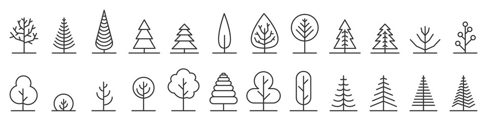 Big set of minimal trees linear icons - vector Fotomurales