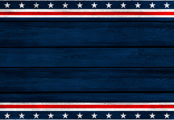 USA background. USA flag elements on wooden backdrop.