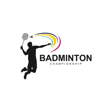 badminton logo, Badminton Player In Action Logo , Aggressive Jumping Smash
