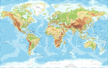 World Map - Physical Topographic - Vector Detailed Illustration