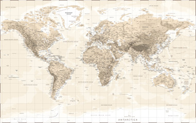 World Map Physical - Vintage Retro Old Style - Vector Detailed Illustration