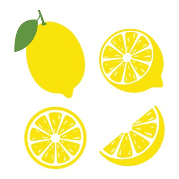 Fresh lemon fruits, Lemon icon vector illustration set
