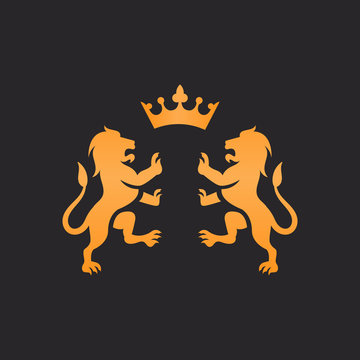 two lion with crown vector logo design isolated on black background