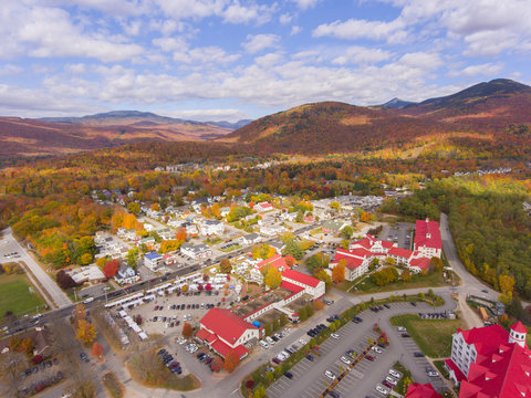 Lincoln Main Street at town center and Little Coolidge Mountain on Kancamagus Highway aerial view with fall foliage, Town of Lincoln, New Hampshire NH, USA.