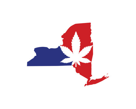New York Map With Cannabis Leaf Logo Vector 001