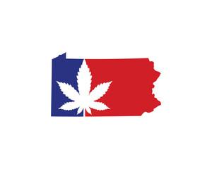 Pennsylvania Map With Cannabis Leaf Logo Vector 001