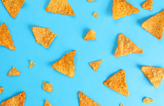 pattern mexican nachos chips on blue background