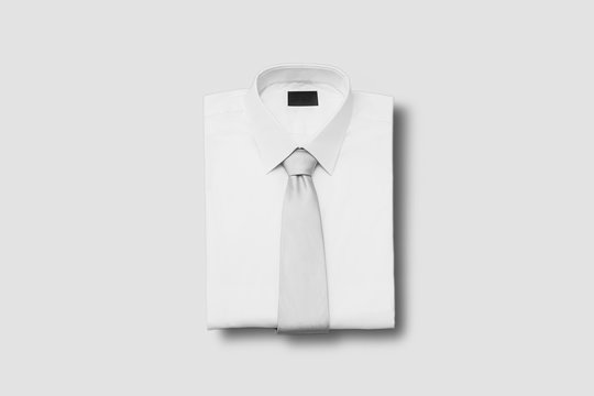 Men Shirt with Tie Mock up on light gray background.