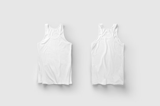 Blank White Tank Top Shirt Mock up on light gray background, front and back side view.White sleeveless.3D Rendering.