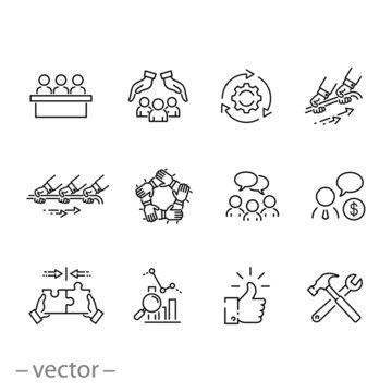 business team icon set,  strategy teamwork, management people, cooperation plan, thin line web symbols on white background - editable stroke vector illustration eps10