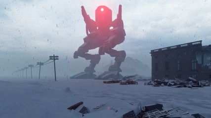A huge military robot stands in the middle of the ruined apocalyptic city. View of the Apocalypse. 3D Rendering Wall mural