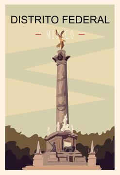 Distrito Federal retro poster. Distrito-Federal travel illustration. States of Mexico