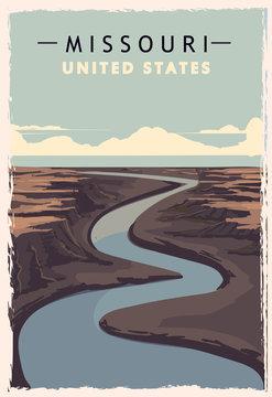Missouri retro poster. USA Missouri travel illustration. United States of America greeting card.
