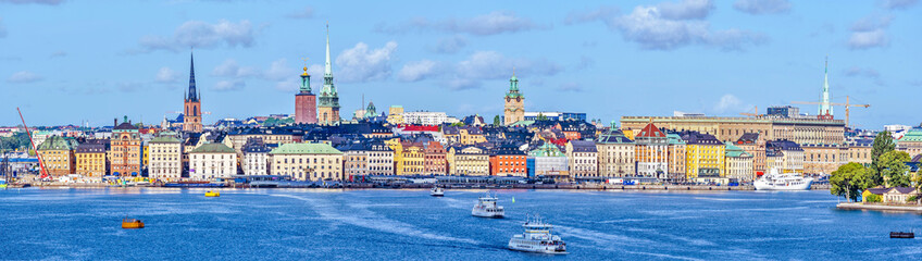 Panoramic view at Stockholm old city Galma Stan as seen from the Sea