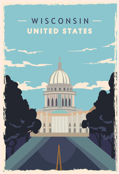 Wisconsin retro poster. USA Wisconsin travel vector illustration. United States of America