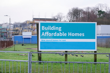 Building affordable homes by local council to help government social housing problem and shortage