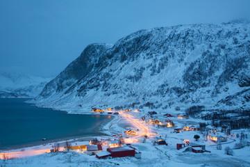 Grotfjord Village In The Winter Time, Kvaloya, Troms, Norway