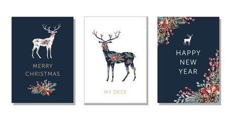 Wall Mural - Winter holidays nature design greeting cards template, forest deer animal silhouette, text Merry Christmas, New Year background. Green pine, fir twigs, cones, red berries. Vector xmas illustration