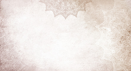 Foto auf Leinwand Boho-Stil Light soft cream, earthy textured watercolor background with mandalas