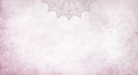 Light pastel rose pink textured watercolor background with mandalas Wall mural